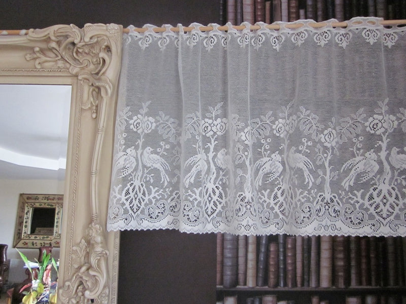"Shabby Chic ""Doves"" Country Cottage Cotton Valance Lace Panelling in white 23""- 1m"