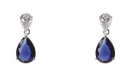 Clear and Sapphire Earrings Blue Crystal