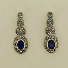 Silver Sapphire Marcasite Earrings Blue