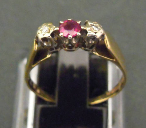 9ct gold, ruby and diamond ring, 1979