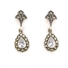 Silver Marcasite Crystal Earrings