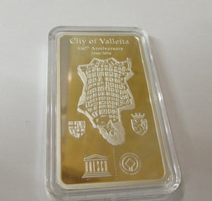 Silver Ingot 450th Anniversary City Of Valletta 1566-2016 With Box & Certificate