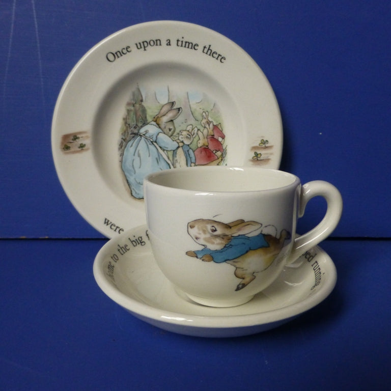 Wedgwood Beatrix Potter Peter Rabbit Children's Trio (Teacup, Tea Saucer and Plate)