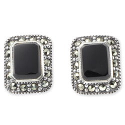 Silver Marcasite Black Stud Earrings