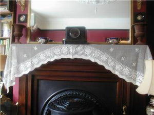 Vintage 1930's Style Scottish White Cotton Lace Mantle/Window Valance Curtain Panel - 24 X 78 inches