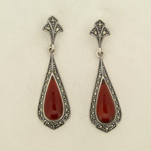Silver Marcasite Carnelian Earrings