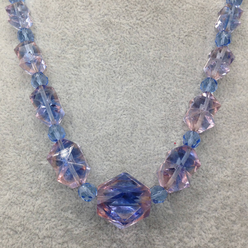 1930's pink/ blue shaded crystal beads