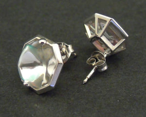 Baccarat crystal and silver stud earrings