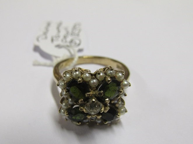 9ct Gold Cluster Ring,Diamond,Tourmaline,Pearl