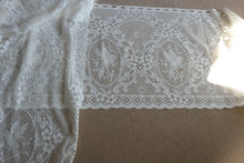 """Lovebirds Cameo"" Period white Cotton Lace Curtain valance Sold By The Metre 23"" width"