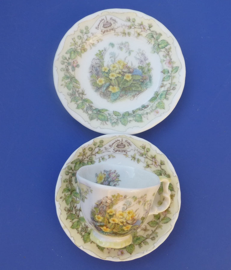 Royal Doulton Brambly Hedge Miniature Trio - Teacup, Saucer and Plate - Spring by Jill Barklem (Boxed)