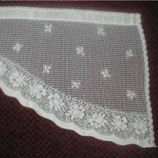Vintage 1930's Scottish Cream Cotton Lace Mantle/Window Valance Curtain Panel - 24 X 78 inches