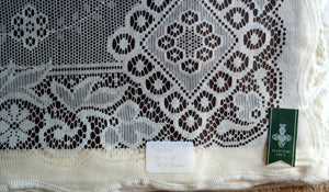 """Jessica"" Victorian Style white Cotton Lace Curtain Panel Ready To Hang - 36"" x 36"" 90 x 91cms"