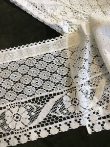 "Valerie white cotton lace valance Panel Readymade 11""/72"" 28/180 cms"