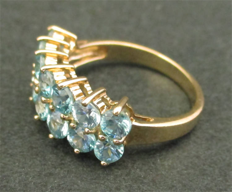9ct gold, double row blue topaz ring, size N