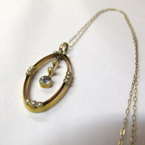 Antique Edwardian 9ct Yellow Gold Pendant Set with Aquamarine and Seed Pearls