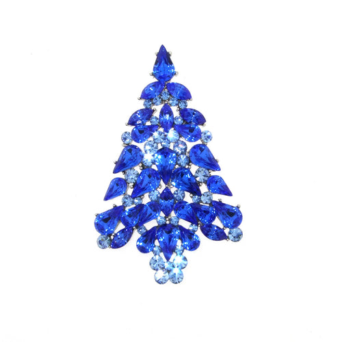 Christmas Tree Brooch Blue Crystal