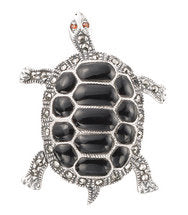 Tortoise Brooch Silver Black Marcasite Pin Pendant