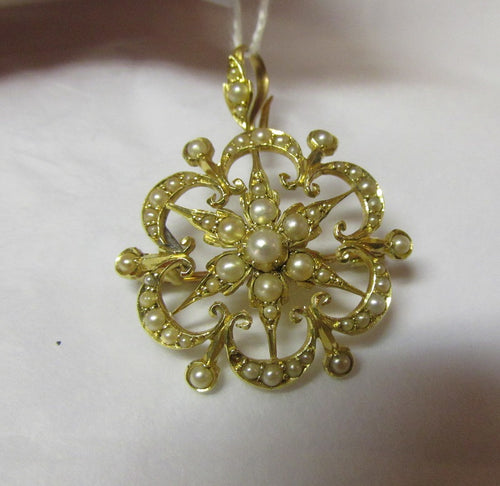 Victorian/Edwardian 15ct Pearl Pendant/Brooch