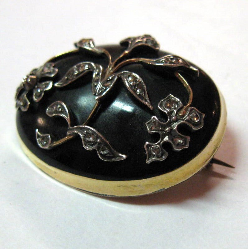 Antique Victorian Enamel and Diamond Brooch