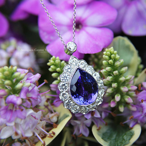 Stunning Handmade 18ct White Gold Tanzanite & Diamond Pendant