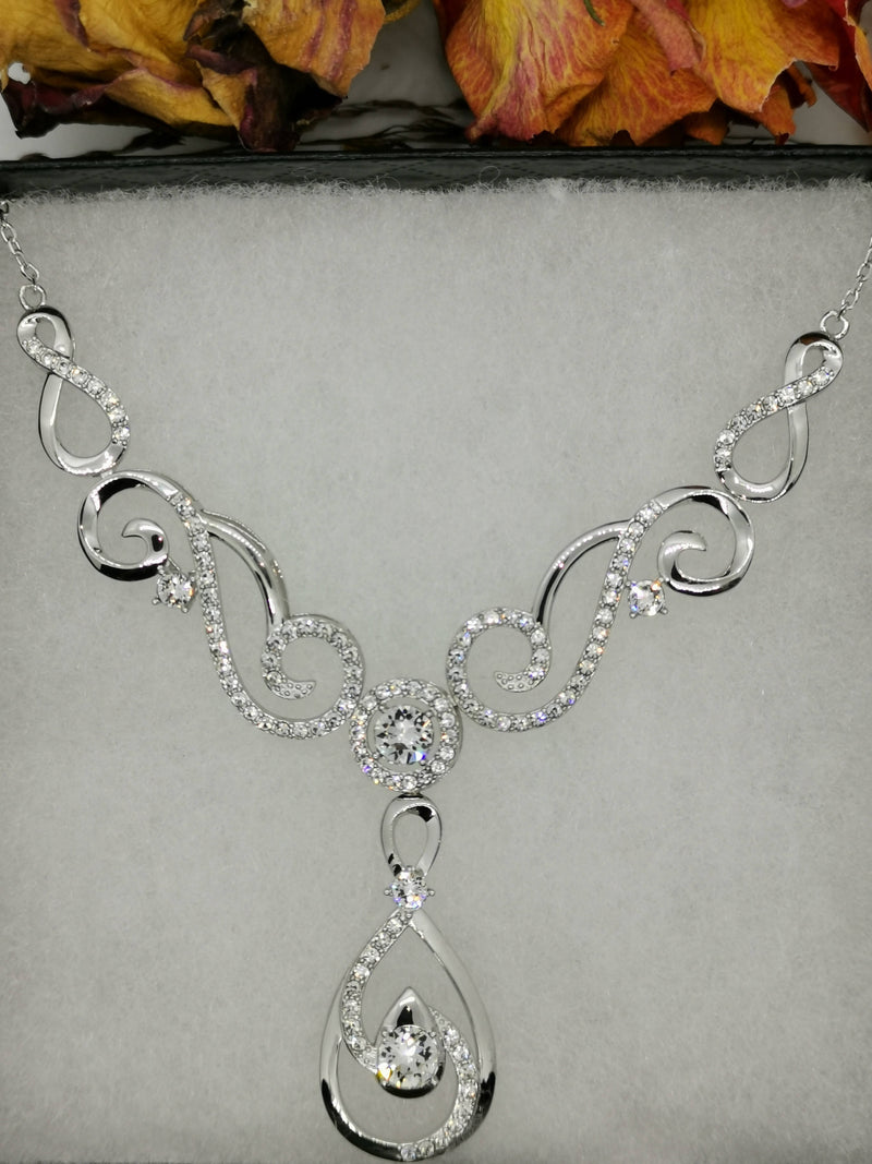 New Swarovski White Zirconia (Rnd) Necklace (Size 18 with 2 inch Extender) in Rhodium Overlay Sterling Silver