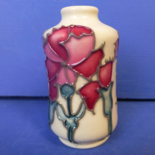 Moorcroft Miniature Vase Carnations January Birthday By Emma Bossons