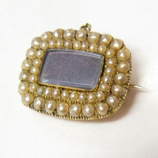 Antique Victorian 15ct Gold and Seed Pearl Mourning Brooch