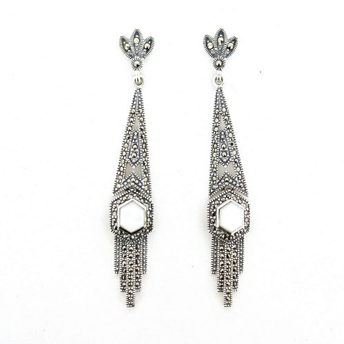Silver Marcasite Mother of Pearl Art Deco Earrings