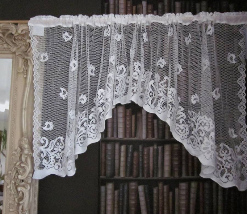 Charlotte Vintage 1930's Design Scottish Cream Cotton Lace Mantle/Window Cafe Curtain Panel - Swag Decor