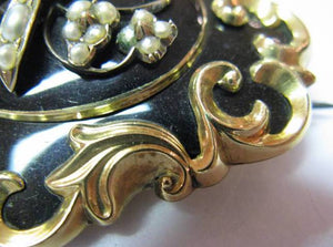 Early Victorian Gold, Enamel & Pearl Mourning Brooch