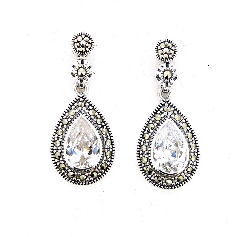 Silver Marcasite Cubic Zirconia Crystal Earrings