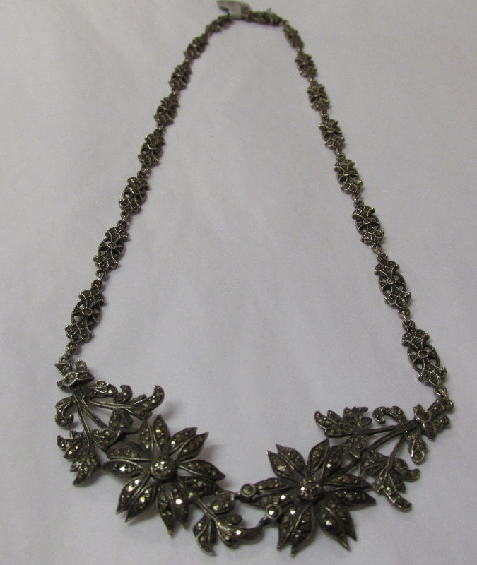 Silver and Marcasite Necklace Vintage 1950s