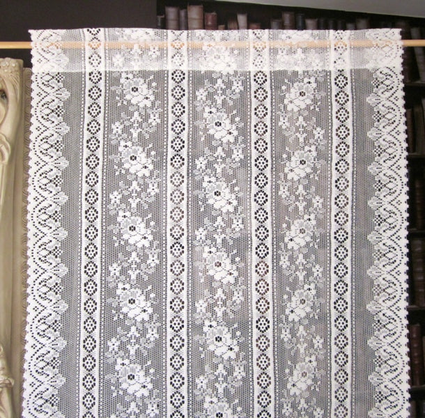 Rue de France- Antique Style white Cotton Lace Curtain Panel 27
