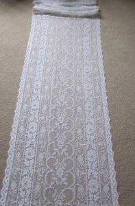 Enchanted Garden- Antique Style white Cotton Lace Curtain Panelling Sold By The Metre - Width 17 Inches