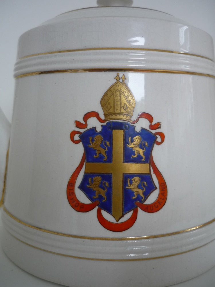An Antique Macintyre Teapot with the County Durham Market Town of Bishop Auckland Crest. Registered Design Date 1897. In Excellent Condition.