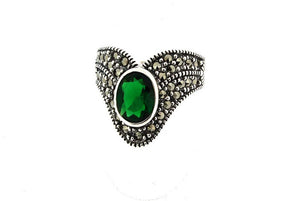 Emerald Crystal Silver Marcasite Ring