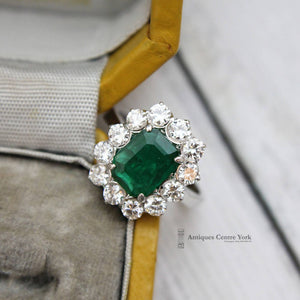 18ct White Gold Emerald 1.75ct & Diamond 1.20ct Rectangular Cluster Ring