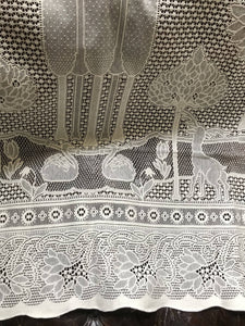 "Beautiful Arts & Crafts cream cotton lace curtain The Stag 68""/94"""