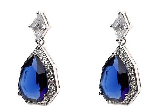 Sapphire Blue Crystal Silver Earrings
