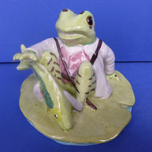 Beswick Beatrix Potter Figurine - Jeremy Fisher Catches A Fish (Without V Cut) - (Boxed)
