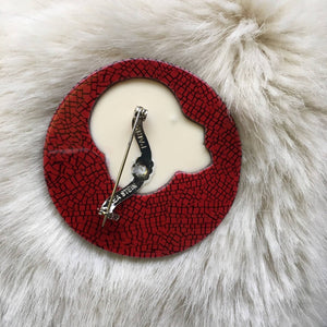 Lea Stein Colorette Brooch Pin Red White (SOLD)