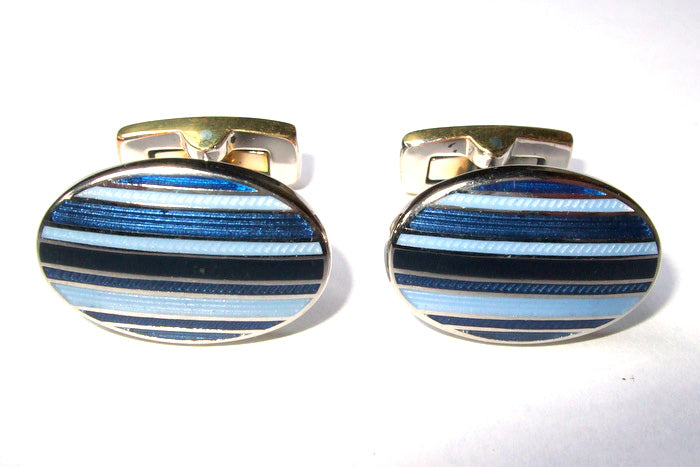 Duchamp Blue Stripes Cufflinks