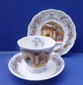 Royal Doulton Brambly Hedge Seasons Winter Trio Teacup, Saucer and Plate - Full Size