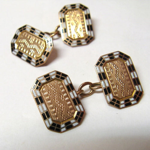 Vintage 1940s 9ct Gold and Black and White Enamel Cufflinks