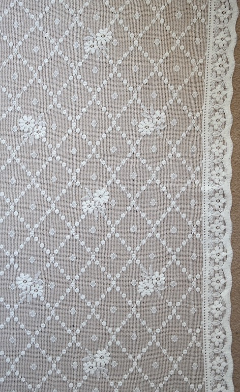 Ashley- Antique Style laura Ashley trellis rose white Cotton Lace Curtain Panel to finish 58