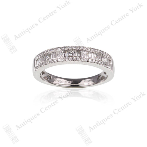 Platinum Princess, Brilliant & Baguette Cut Diamond 0.69ct Half Eternity Ring