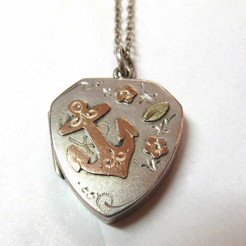 Antique Edwardian Silver Locket with Anchor 1907
