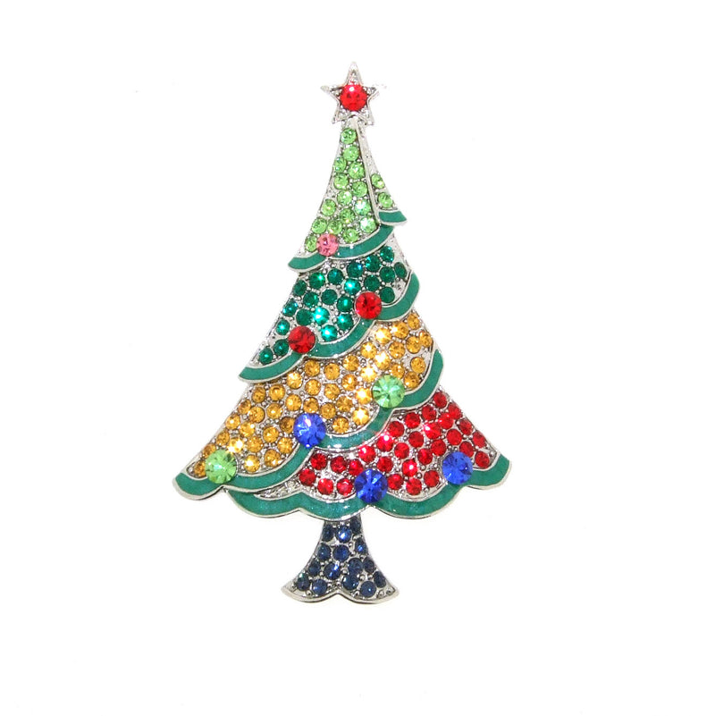 Christmas Tree Brooch multi-coloured