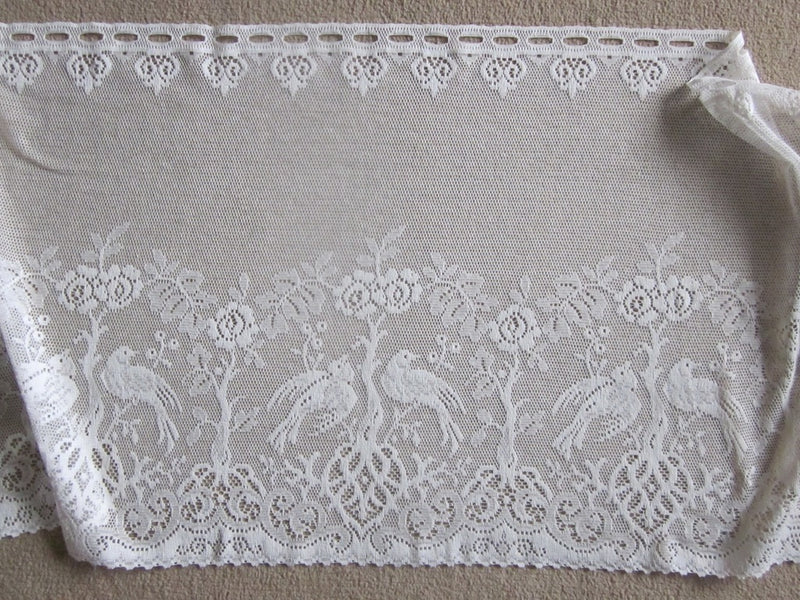 "Shabby Chic ""Doves"" Country Cottage Cotton Valance Lace Panelling in ivory 23""- 1m"